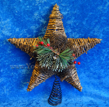 "14"" Rattan Star Tree Topper"
