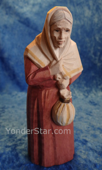 Old Woman with Pouch - Huggler Nativity Woodcarving