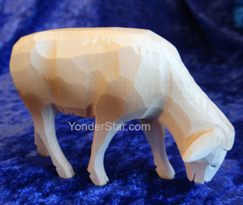 White Sheep Grazing - Huggler Nativity Woodcarving