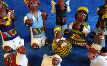 11 pc pottery nativity - Bolivia