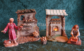 "Bakery Shop Scene - 5"" Fontanini Nativity Market Bakery Scene s55580"