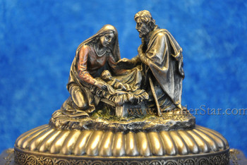 Nativity Trinket Box Cold Cast Bronze