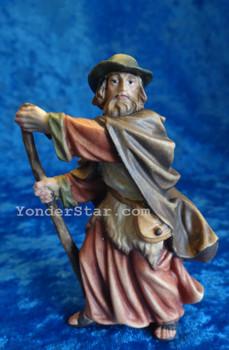 Shepherd w Walking Stick LEPI Nazarene Wooden Nativity