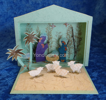 Pop-Up Nativity Scene Hand-Made from Paper and Flowers - Philippines