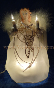 "9"" Ivory & Gold Angel Tree Topper"