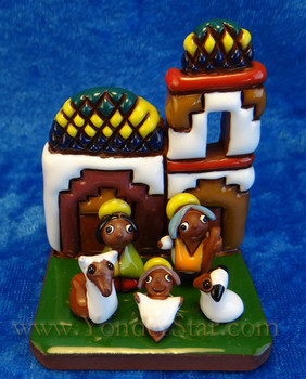 Red pottery nativity from Bolivia