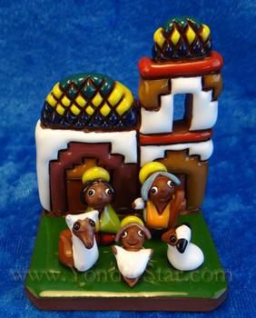Red pottery nativity from Bolivia