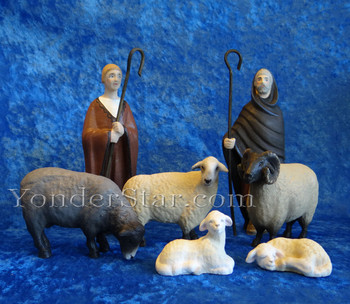 wooden nativity shepherd set