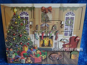 Wooden advent calendar Christmas morning.