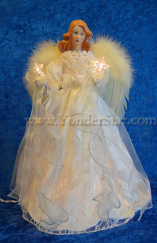 "16"" Ivory Angel Lighted Tree Topper"