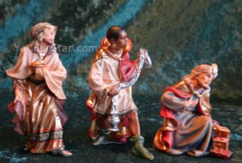 Nazarene Wisemen for LEPI Wooden Nativity w 24  Carat Gold Highlights