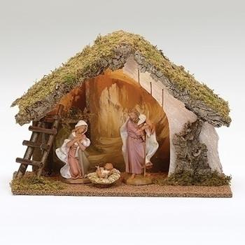 Fontanini nativity scene wooden stable