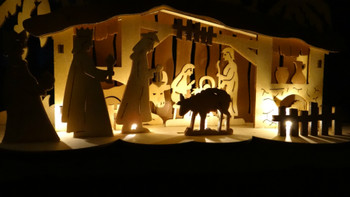 Wooden Nativity Scene Lighted Silhouette