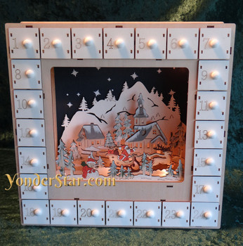 Wood Advent calendar lighted