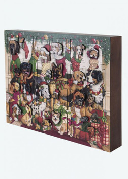 Heirloom Wooden Advent Calendar Christmas Dogs - Byers' Choice - Pre-order