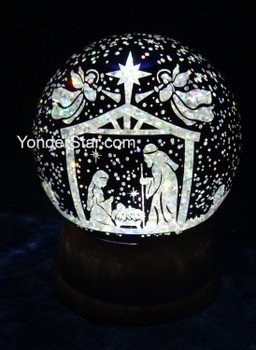 Nightsky Nativity Scene LED Lighted Swirl Glitter Dome