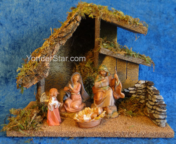 "5"" Fontanini Nativity Scene 4 pc with 9.5"" Wood Stable 54427"