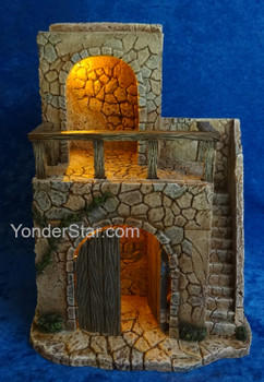 "14"" LED Lighted Bethlehem Inn for 5"" Fontanini Nativity  55610"