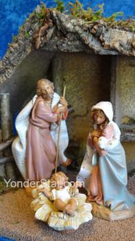 """7.5"""" Fontanini Nativity Scene - 3 pc w Wooden Stable 54869"""