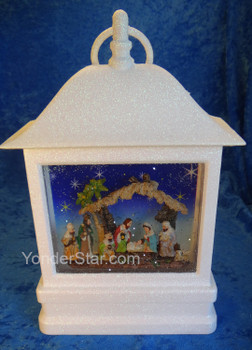 Lighted Nativity Glitterdome Motorized to Swirl