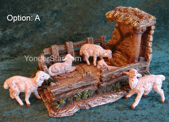 "Sheep Shelter Scene - 5"" Fontanini Nativity White Sheep Scene s55605A"