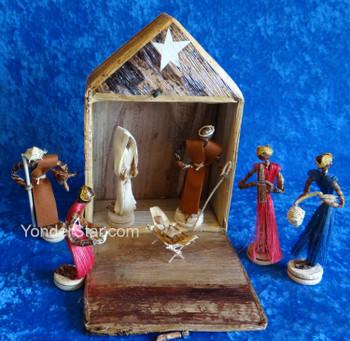 Banana Fiber and Sisal Fiber Nativity Scene in Fiber Box