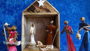 Banana Fiber and Sisal Fiber Nativity Scene in Fiber Box