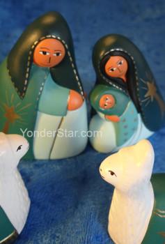 Peruvian Jade Nativity Set with Llamas