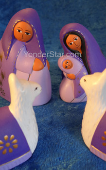Peruvian Amethyst Nativity Set with Llamas