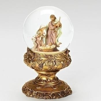Fontanini Nativity Glitterdome on Gold Pedestal