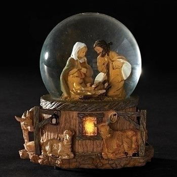 Fontanini Glitterdome Nativity Scene plays Silent Night 66129