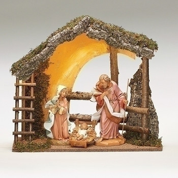"12"" Fontanini Nativity with Large Wooden Stable 54910"