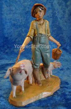"Jedediah - 5"" Fontanini Nativity Boy with Pigs"