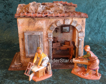 "Carpenter's Shop Scene - 5"" Scale Fontanini Nativity Accessories - s55613"
