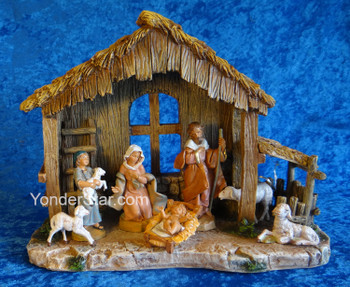 "5"" Fontanini Nativity Set w 10.5"" Resin Stable 54459"