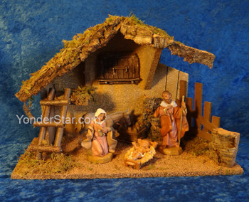 "5"" Scale Fontanini Nativity Scene 4 pc with 10.5"" Wood Stable 54429"