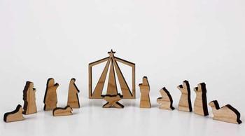 Wooden nativity Maine USA