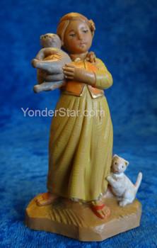 """Filia - 5"""" Fontanini Nativity Girl with Cats 59811"""