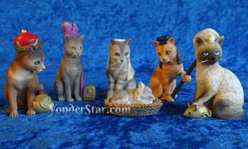 Cat nativity scene