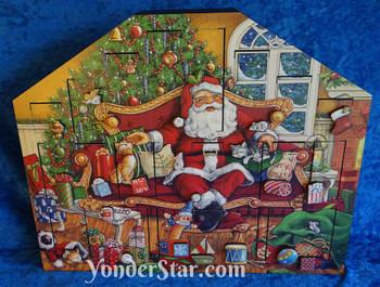 Wooden Advent Calendar Cats and Santa
