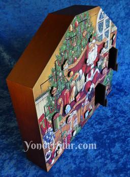 Wood Advent Calendar Cats Santa