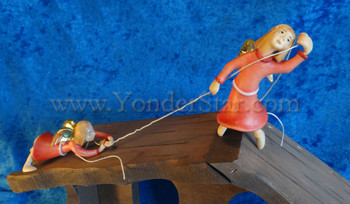 Kastlunger Rapelling Angels Set of Two for LEPI Kastlunger Wooden Nativity