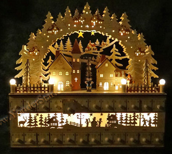 Wooden Advent Calendar Lighted