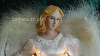 "12"" Ivory Angel Tree Topper White Mini Lights"