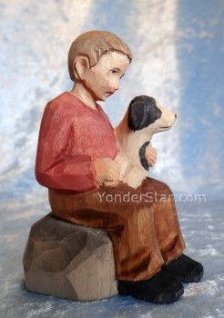 carved Swiss nativity boy