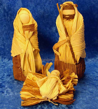 Corn husk nativity set.