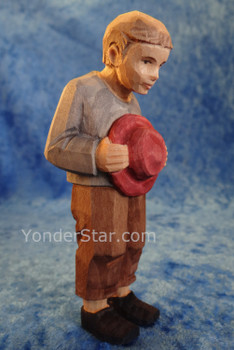 Boy with Hat - Huggler Nativity Woodcarving - 14cm Scale