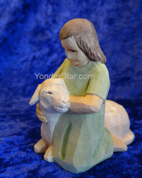 Girl with Sheep - Huggler Nativity Woodcarving