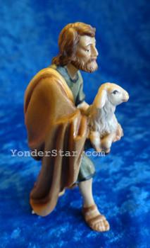 Shepherd Holding Lamb LEPI Nazarene Wooden Nativity