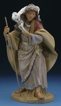 "Gabriel - 18"" Fontanini Nativity Shepherd Boy with Sheep 53720"